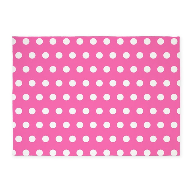 Pink And White Polka Dots 5'x7'Area Rug By WickedDesigns4