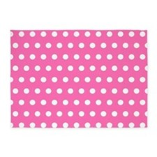 Pink And White Polka Dots 5'x7'Area Rug