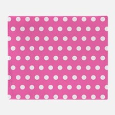 Pink And White Polka Dots Throw Blanket