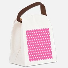 Pink And White Polka Dots Canvas Lunch Bag