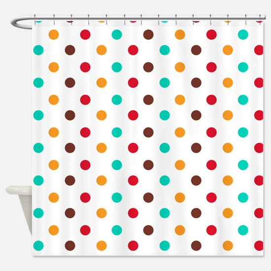 Multi Color Polka Dots Shower Curtain