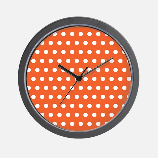 Orange And White Polka Dots Wall Clock