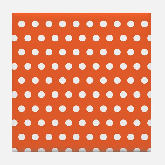 Orange And White Polka Dots Tile Coaster