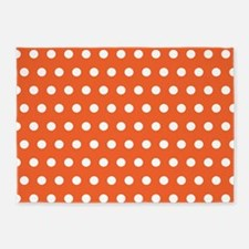 Orange And White Polka Dots 5'x7'Area Rug