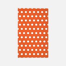 Orange And White Polka Dots Area Rug