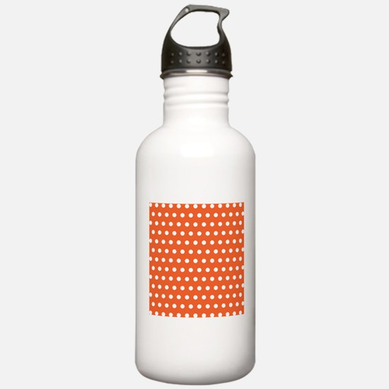 Orange And White Polka Dots Sports Water Bottle