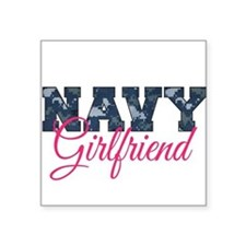 "Cute Navy girlfriend Square Sticker 3"" x 3"""