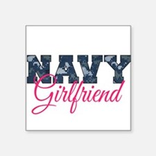 "Unique Navy wife Square Sticker 3"" x 3"""