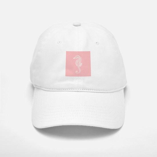 Salmon Pink Seahorse Baseball Baseball Cap