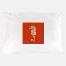 Red Seahorse Pillow Case