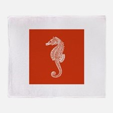 Red Seahorse Throw Blanket