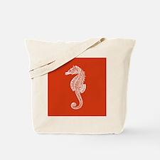 Red Seahorse Tote Bag