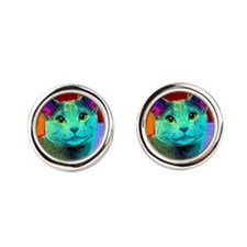 Pop Cat Art Round Cufflinks