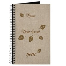 Personalised Golden Leaf Event Party Hobby Journal