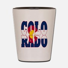 Colorado state flag typography text Shot Glass
