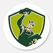Plasterer Mason Worker Trowel Shield Retro Round C