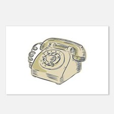 Telephone Vintage Etching Postcards (Package of 8)
