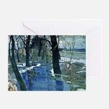 Isaak Brodsky painting, Early Spring Greeting Card