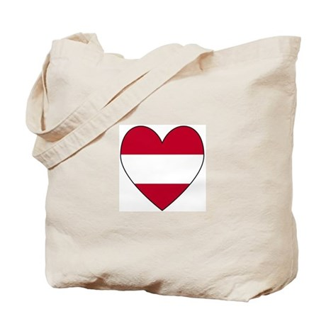 Austrian Flag Heart Tote Bag