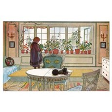 Flowers on the windowsill, Illusration by Carl Lar Poster