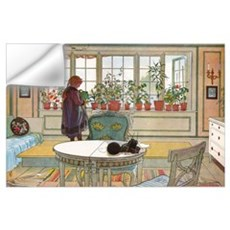 Flowers on the windowsill, Illusration by Carl Lar Wall Decal