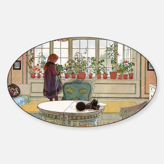 Flowers on the windowsill, Illusrat Sticker (Oval)