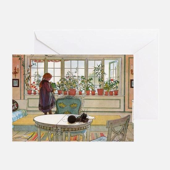 Flowers on the windowsill, Illusrati Greeting Card