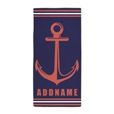 Coral and Navy Stripes Anchor Personal Beach Towel