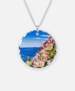 Digital Painting Of Positano Italy Necklace