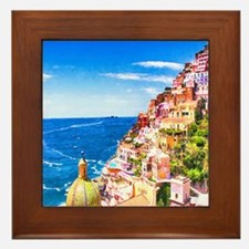 Digital Painting Of Positano Italy Framed Tile