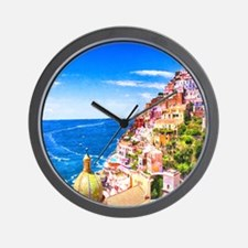 Digital Painting Of Positano Italy Wall Clock