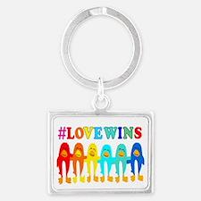 Love Wins Rainbow Penguins. Keychains