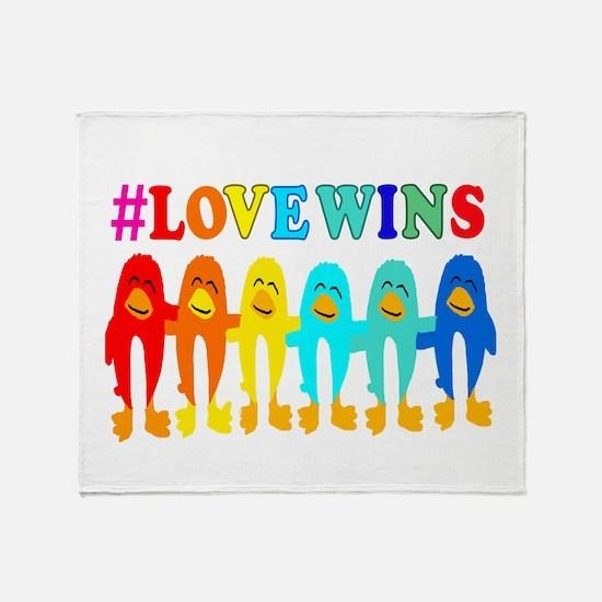Love Wins Rainbow Penguins. Throw Blanket