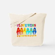 Love Wins Rainbow Penguins. Tote Bag