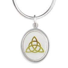 Triquetra, Charmed, Book of S Silver Oval Necklace