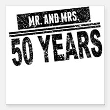 """Mr. And Mrs. 50 Years Square Car Magnet 3"""" x 3"""""""
