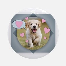 Unique Golden retriever puppies Round Ornament