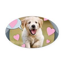 Cute Peace, love, golden retriever Oval Car Magnet