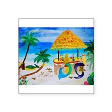 "Cute Beach art mermaids Square Sticker 3"" x 3"""