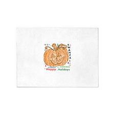 HAPPY HOLIDAYS. COLORED PUMPKIN. 5'x7'Area Rug