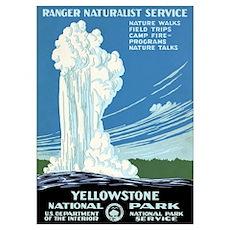 Ranger Naturalist Service Yellowstone Vintage Post Poster