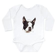 Cute Boston terrier tiles Long Sleeve Infant Bodysuit