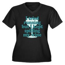 Tried Runnin Women's Plus Size V-Neck Dark T-Shirt