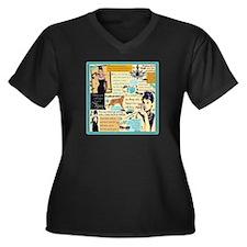 B A T Women's V-Neck Dark Plus Size T-Shirt