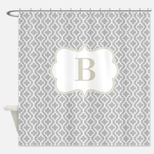 Gray Beige Quatrefoil Monogram Shower Curtain