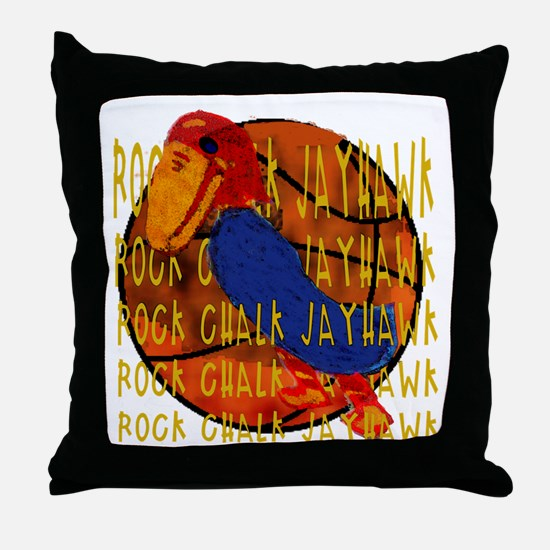 Rock Chalk Jayhawk Basketball Throw Pillow