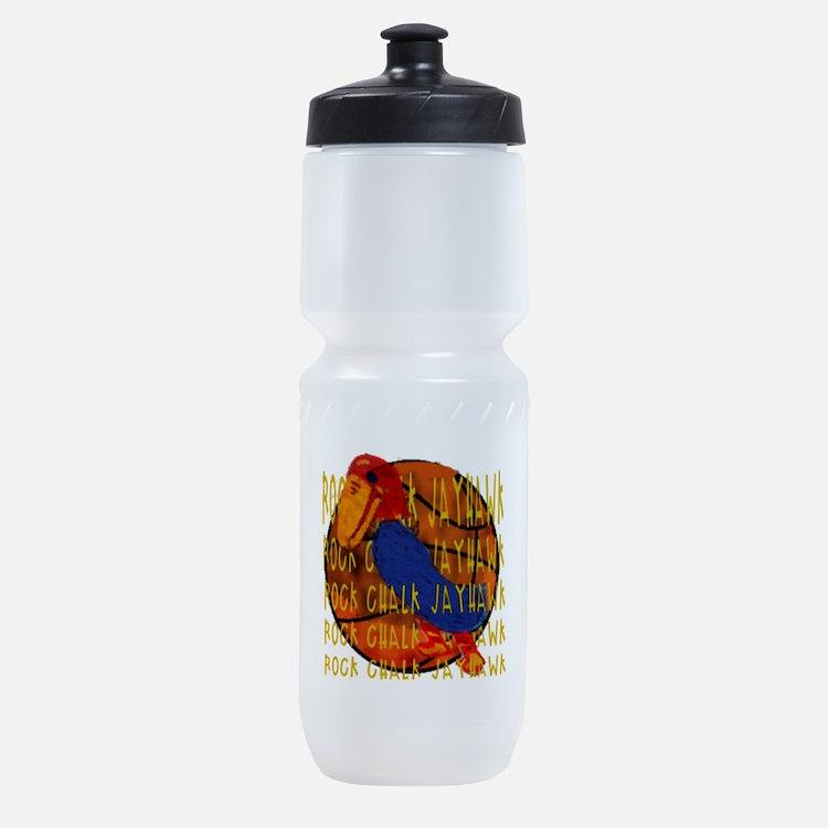 Rock Chalk Jayhawk Basketball Sports Bottle