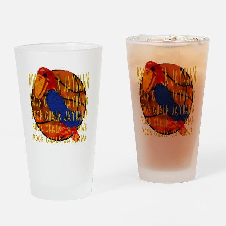 Rock Chalk Jayhawk Basketball Drinking Glass