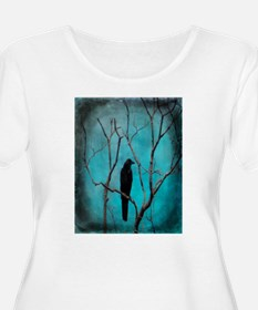 Crow In Night Lights Plus Size T-Shirt
