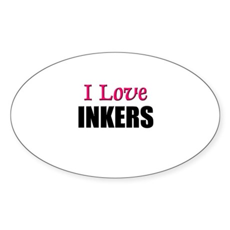 I Love INKERS Oval Sticker